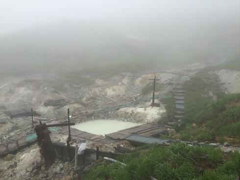 温泉巡りは雨と霧