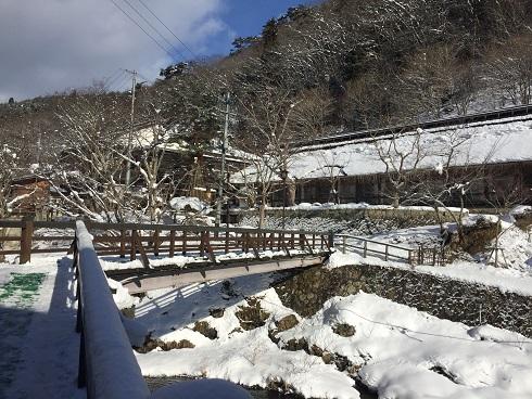 大沢温泉菊水館二泊:厳寒期の露天風呂